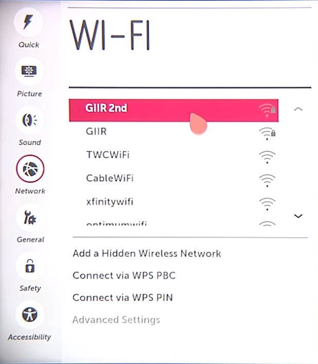 List of available Wi-Fi networks. Screenshot.