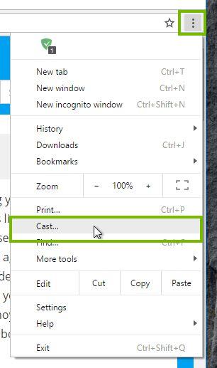 Chrome menu and cast selection