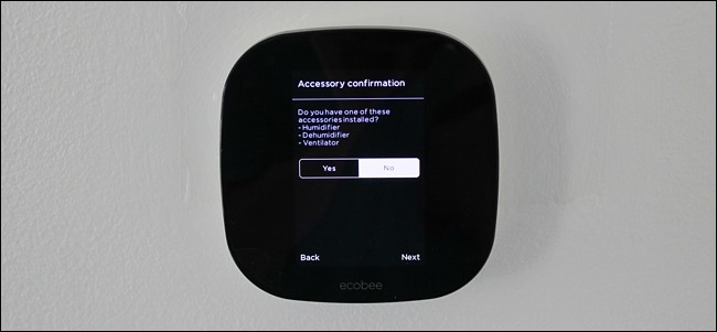 Connected accessories query screen in thermostat setup.