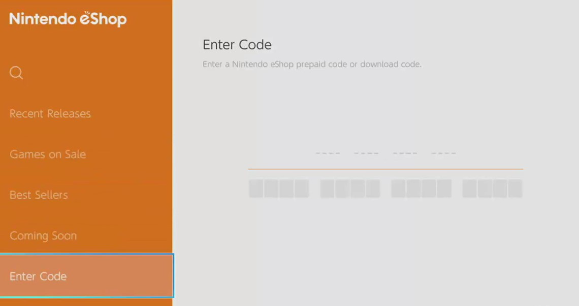 Code Redemption Screen