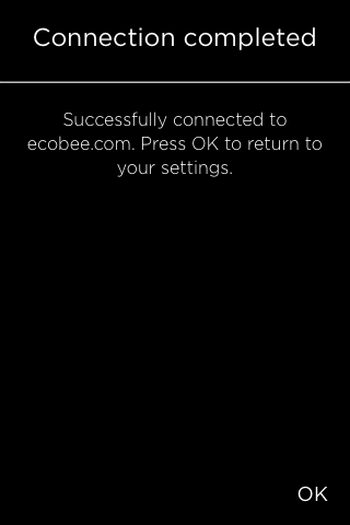 Connection setup completion screen.