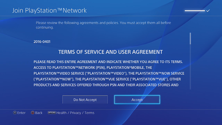Terms of Service and User Agreement acceptance screen.