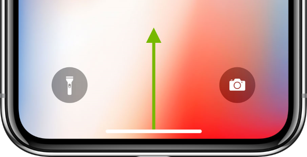 Arrow showing slide direction on iOS screen.