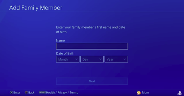 Asking for a name and date of birth