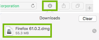 Safari Downloads with Firefox installer highlighted.