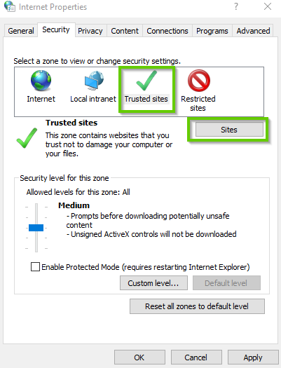 Windows 10 internet settings showing trusted sites