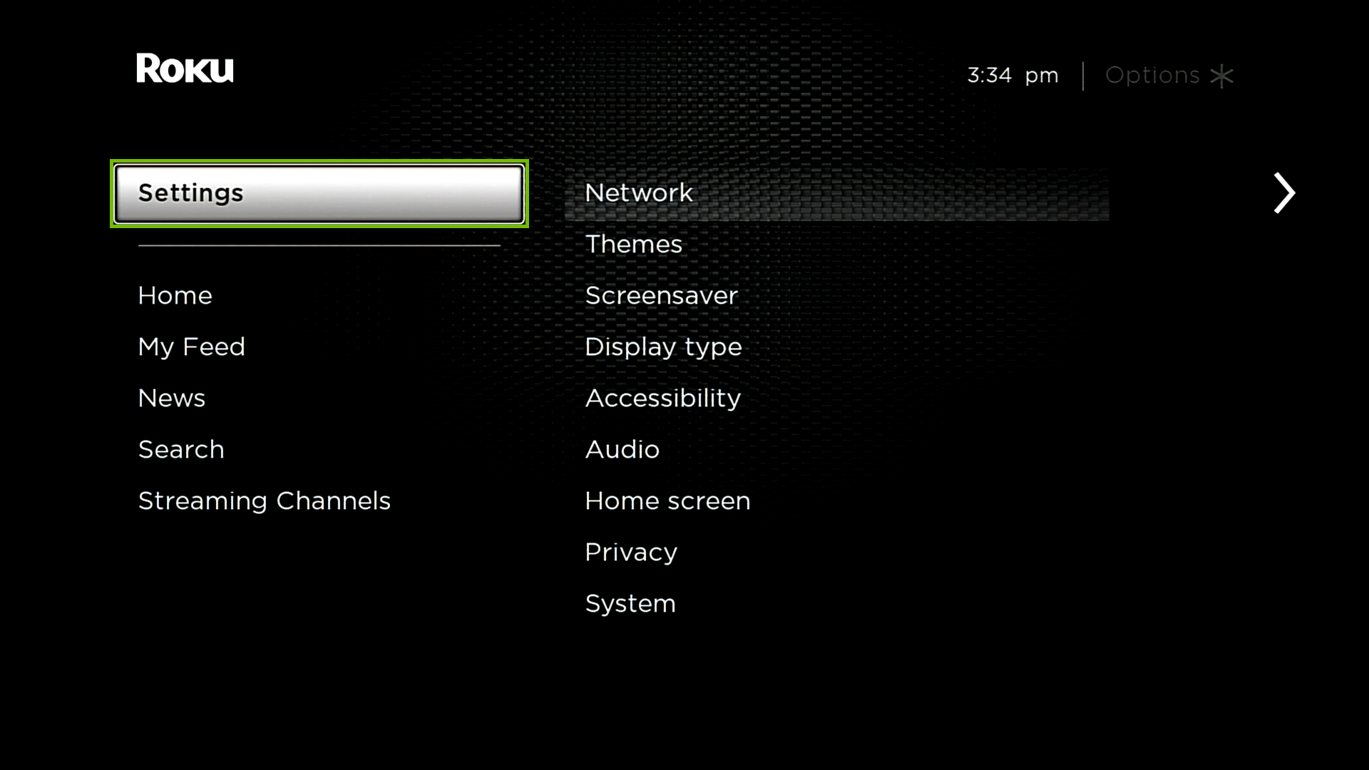 Roku Home screen with Settings highlighted.