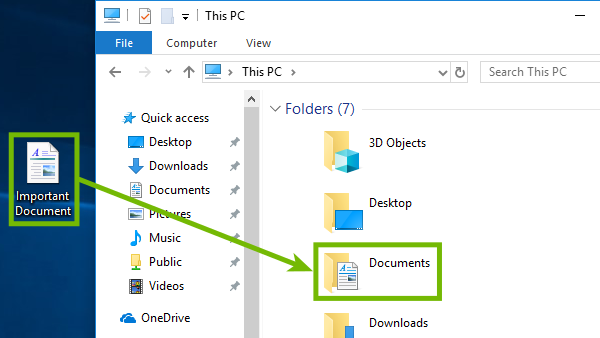 Dragging a file from desktop to a folder.