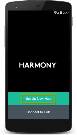Harmony app highlighting the set up new hub button.