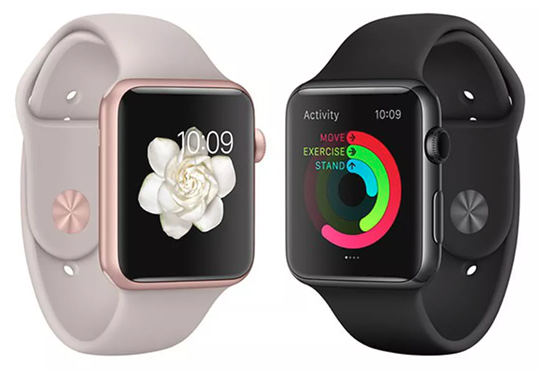 Apple Watches in different colors.