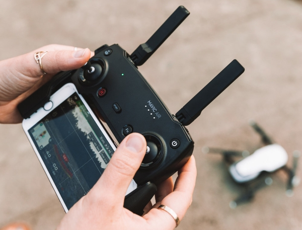 Mavic Air remote control ready for flight.
