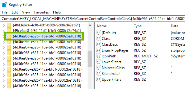 Final subkey highlighted in Windows Registry.