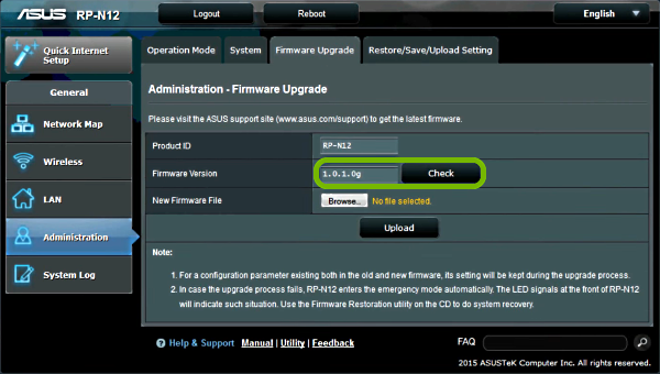 Firmware version and Check button highlighted in range extender's firmware update web interface.