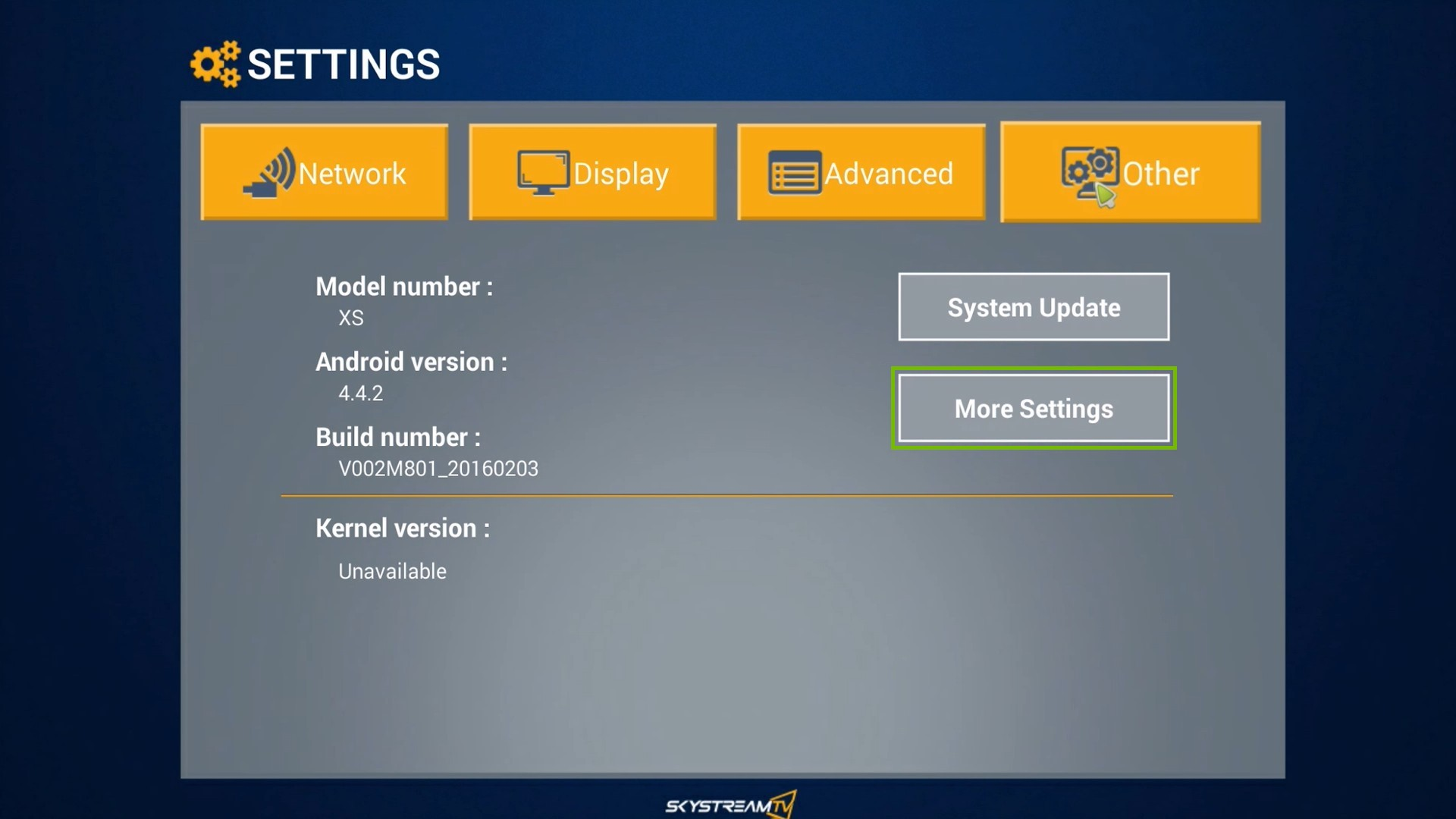 SkyStream One Settings menu, highlighting the More Settings option.