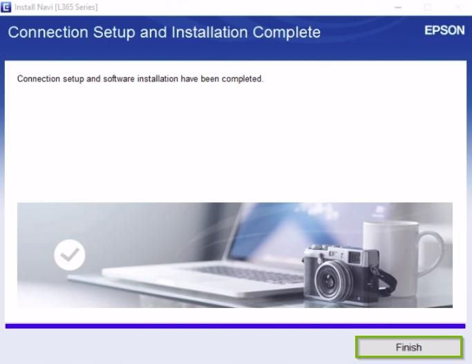 Epson printer installation screen highlighting the finish button.