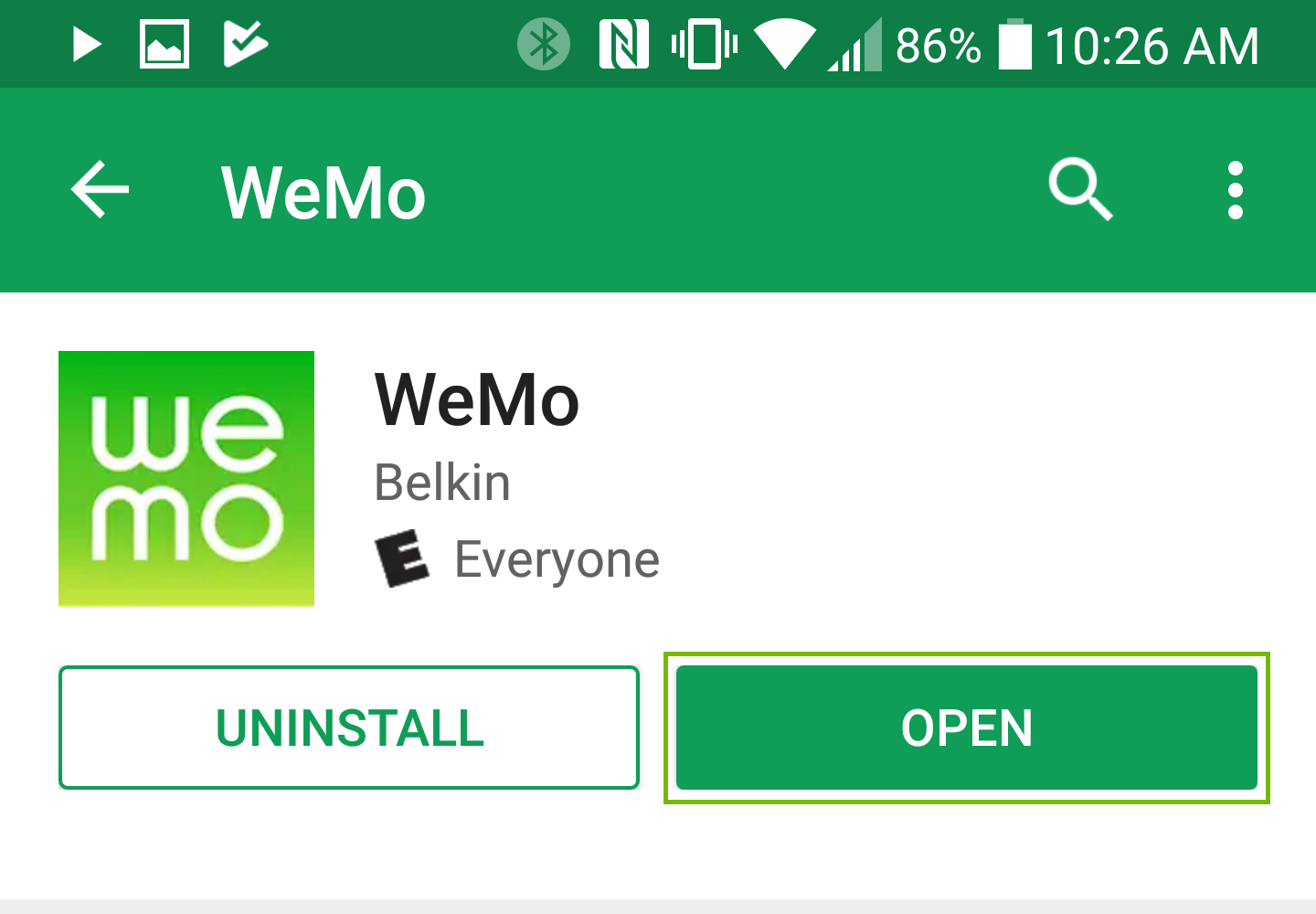 WeMo app installed, Open button highlighted.