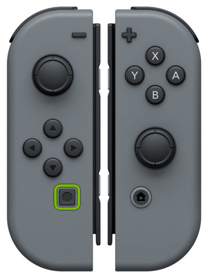 Capture button highlighted on left Joy-Con.