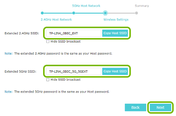 Wi-Fi network name entry fields, Copy Host SSID and Next buttons highlighted in range extender quick setup.