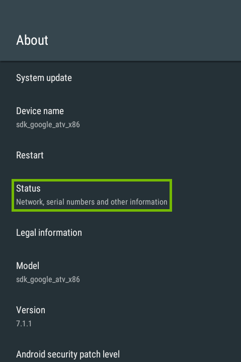 About with Status highlighted.