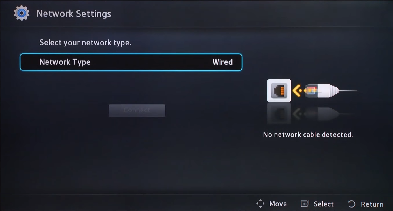 Blu-ray network setup method selection screen