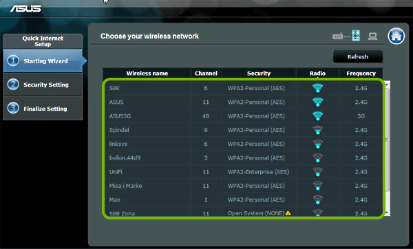 Wi-Fi network list highlighted in range extender setup wizard.