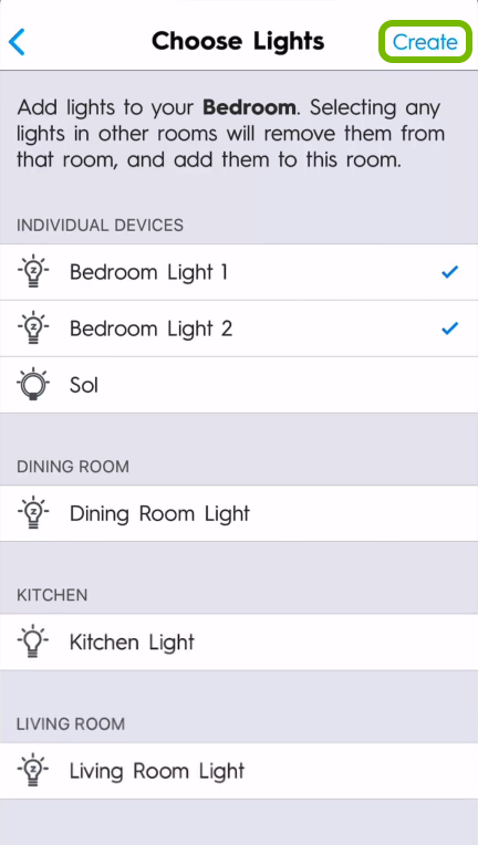 Create option highlighted in lights selection screen of C by GE app.