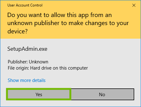 User Account Control prompt for downloader with Yes highlighted.