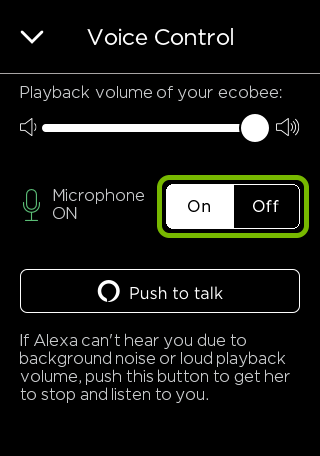 Toggle switch highlighted in ecobee thermostat voice control settings.