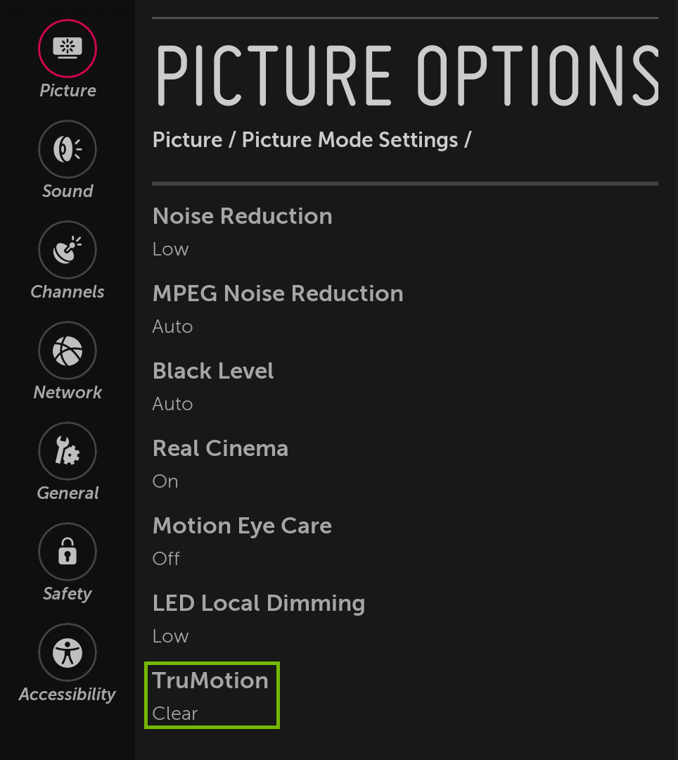Picture Options menu with TruMotion highlighted.