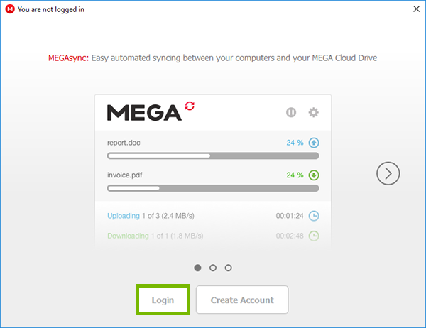 MegaSync Login welcome page with Login highlighted.