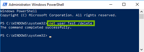 Powershell with command highlighted.