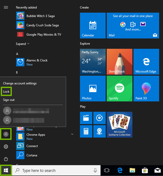 Start menu with profile log out highlighted