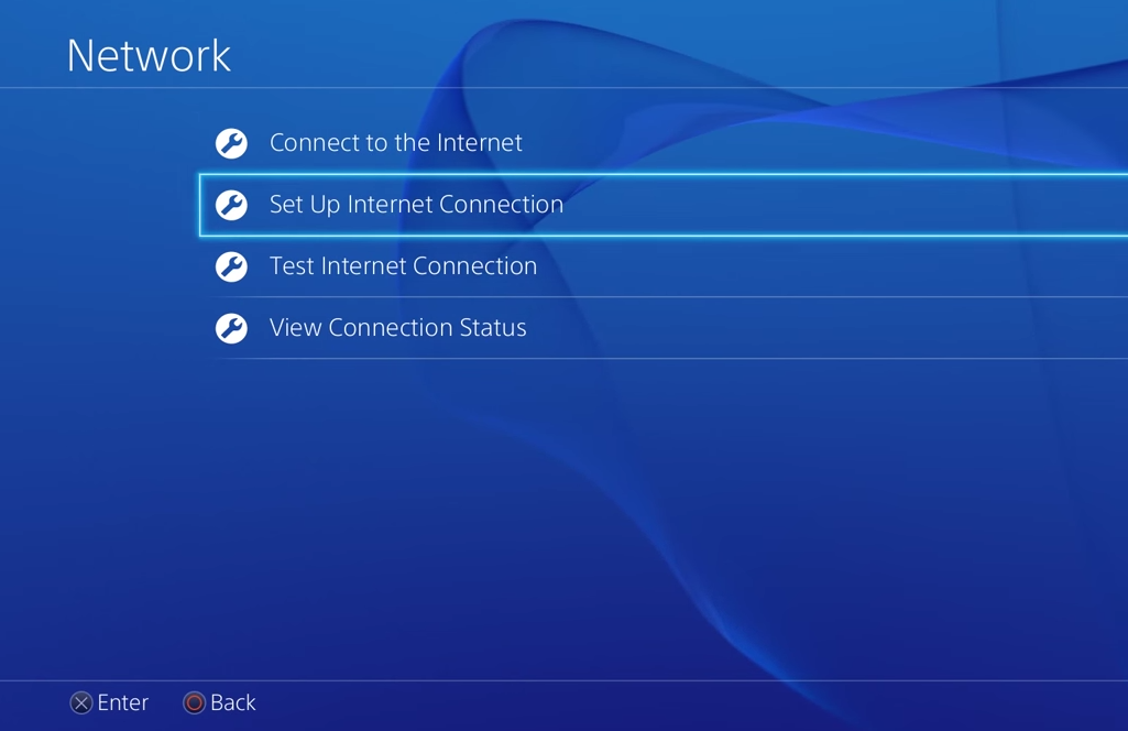 PS4 network settings with set up internet connection