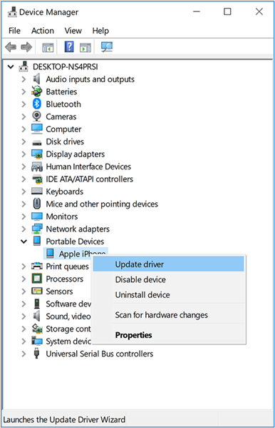 Windows 10 device manager showing update driver for apple iphone