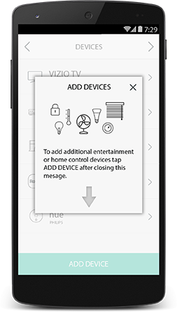 Harmony app add device screen with instructions on adding a new device.