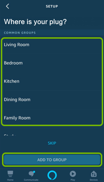 Room names list and Add to Group button highlighted in Alexa app.