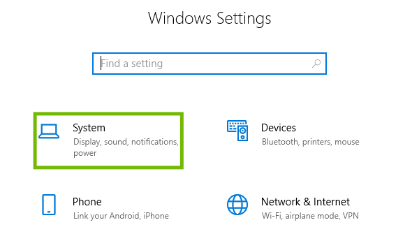 Settings with System highlighted.