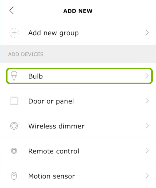 Bulb option highlighted in Ikea Tradfri app.