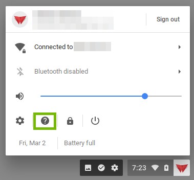Screenshot showing the location of the help question mark inside the Chromebook user menu