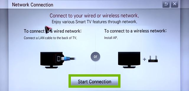 Network Connection setup with Start Connection selected. Screenshot.