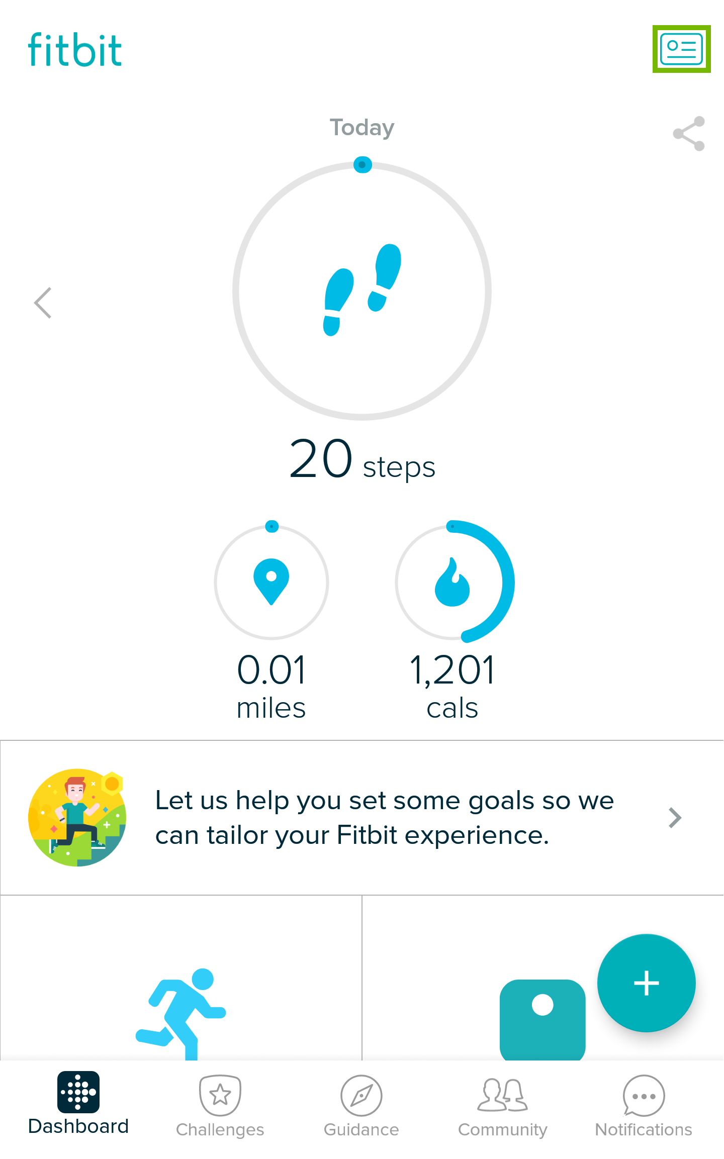 Fitbit home page with account icon highlighted