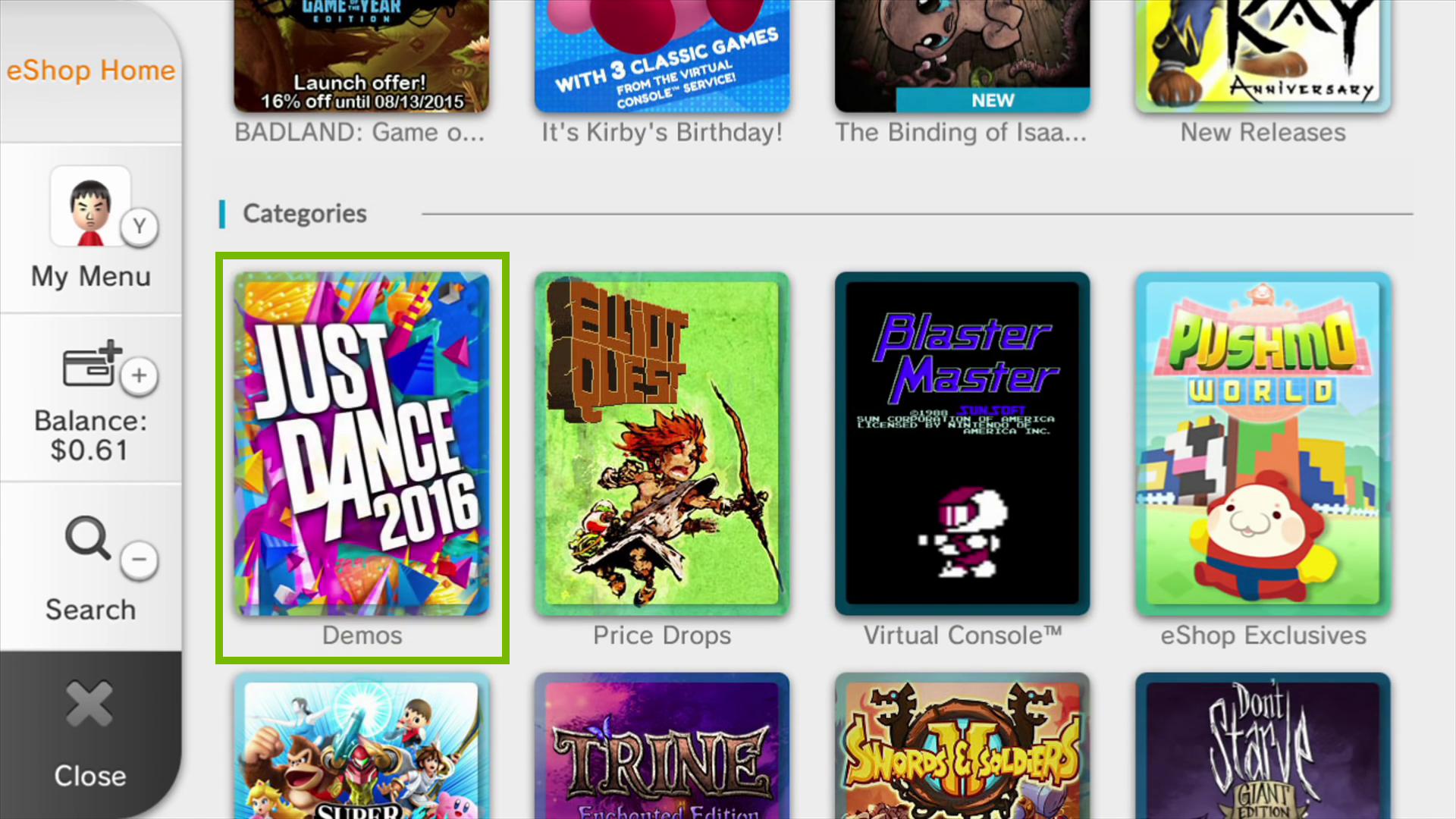 Nintendo e shop home showing categories