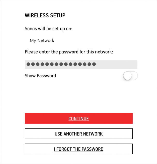 screenshot of wireless setup indicating the password field and continue button
