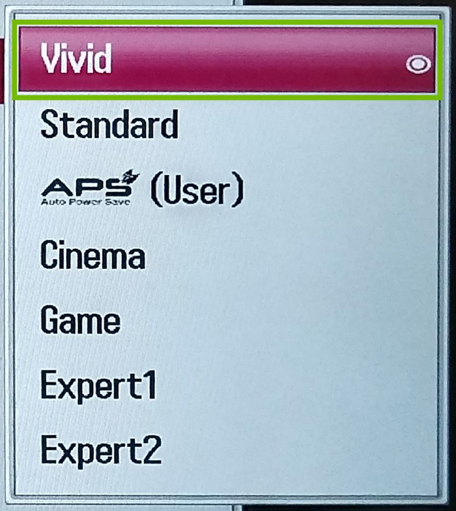 Picture Mode dialog with Vivid highlighted.