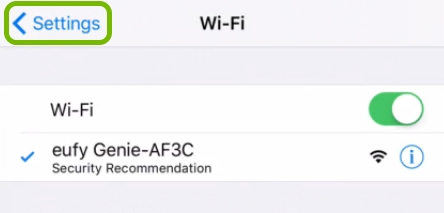 Back arrow highlighted in iOS WiFi settings to return to EufyHome app.