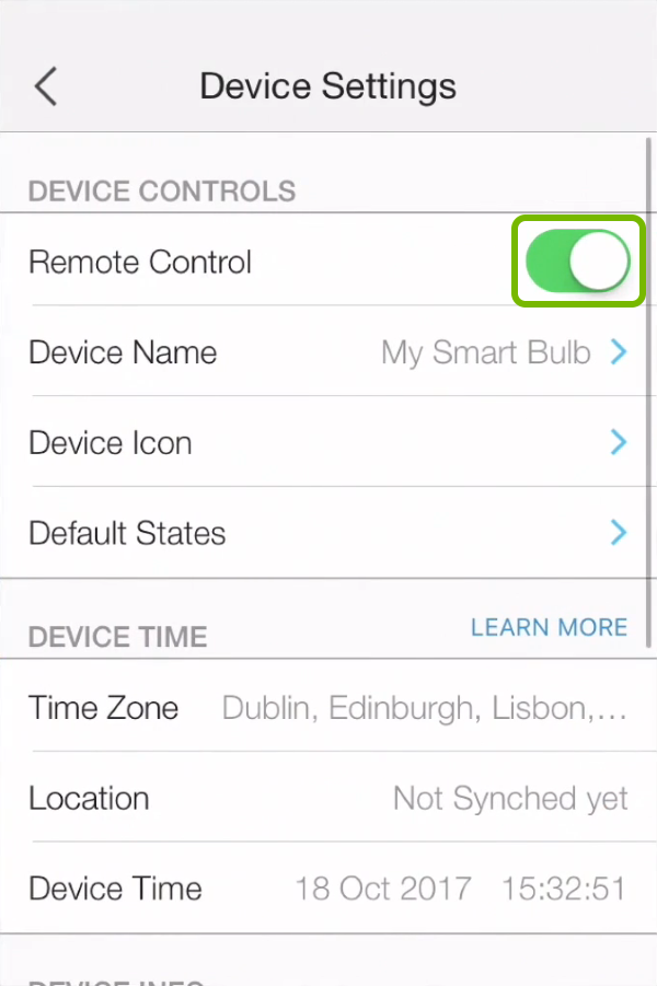 Remote control toggled switch highlighted in device settings of Kasa app.