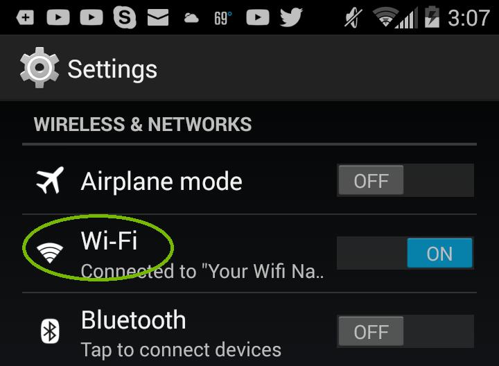 Android Settings Wifi. Screenshot