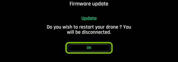 OK button highlighted on drone restart prompt in FreeFlight Pro app.