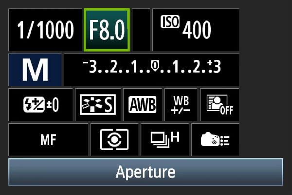 Digital camera aperture setting.