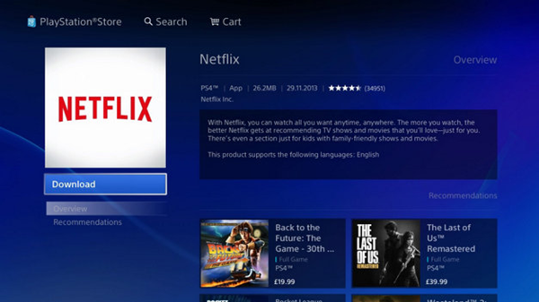 Netflix in the playstation store